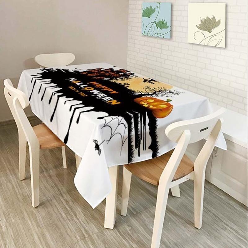 Teste padrão quente do crânio da tablecloth da lanterna da abóbora do Dia das Bruxas para a tampa impermeável confortável do pano da tabela de poliéster das crianças para a casa T200708