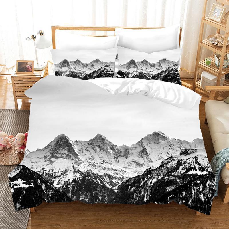 Snow Mountain Landscape 3D juego de ropa de cama edredones Cubiertas Pillowcasas Inicio Textil Parrizador Conjuntos de cama Juego de ropa de cama Cama de cama Set1