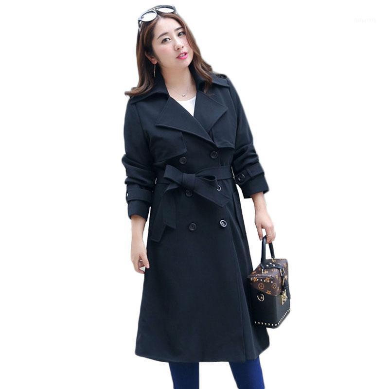 Плюс размер женская одежда черная траншея пальто осень золотая двубортная причинно-следственная женская ветровка весенние длинные пальто