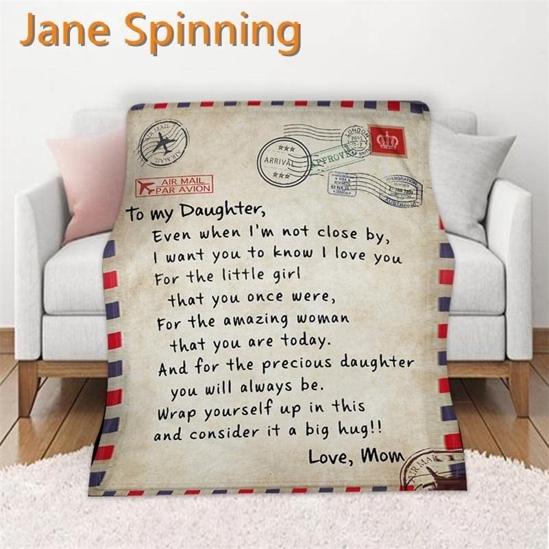 Letters Letters à ma fille Express Love Couverture 3D Imprimé Sherpa Couverture sur le lit Accueil Textiles Dreams Cadeau Couverture 08 201111