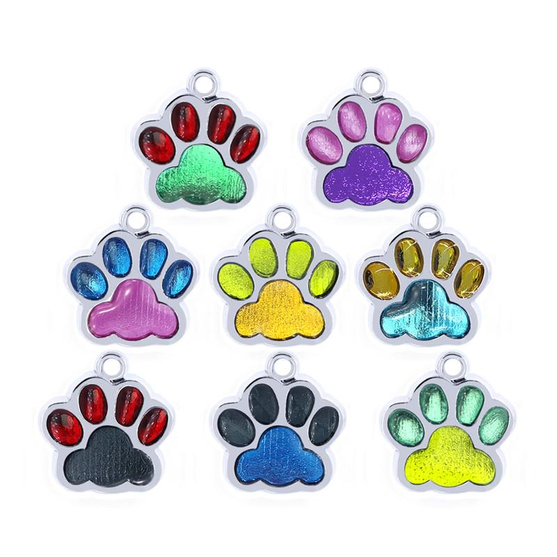 10pcs / lot Mix Renk Köpek Paw Ayak İzi Bling Emaye kolye Charms asın Charms Fit Pet Yaka Kolye Cep Telefonu Charms Takı Yapımı