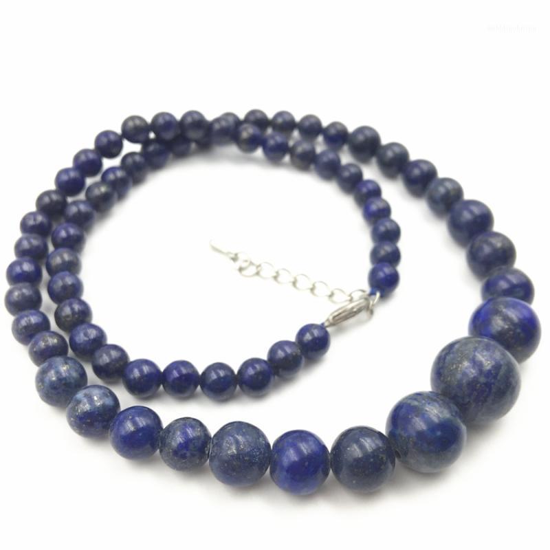 Caliente al por mayor nuevo encantador hermoso azul lapis lazuli 6-14 mm cuentas redondas collar regalos para niña mujeres longitud 18 pulgadas