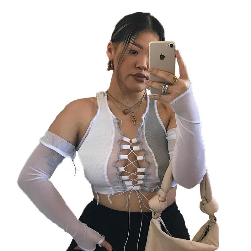 디자이너 여성 섹시한 조끼 관점 메쉬 스티치 스트랩 중공 섹시 슬림 티셔츠 숙녀 패션 슬림 한 의류 가을