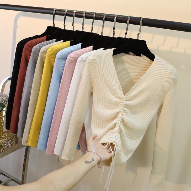 U7AAu Нового корейского Шорт свитер V-образный вырез свитера шнурка нижнего EHsTc рукав тонкой трикотажный тренд рубашка длинных женщин
