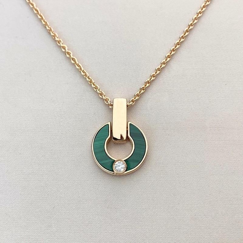 القلب قلادة الماس قلادة الذهب قلادة الأزياء الأزياء الطبيعية المالاشيت خطاب قلادة مع الماس هدايا مجوهرات المرأة للأزواج