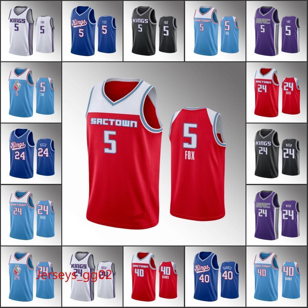 Homens sacramentoKings.Jersey jerson de aaron fox buddy hield harrison barnesJerseys da NBA 2019-20.
