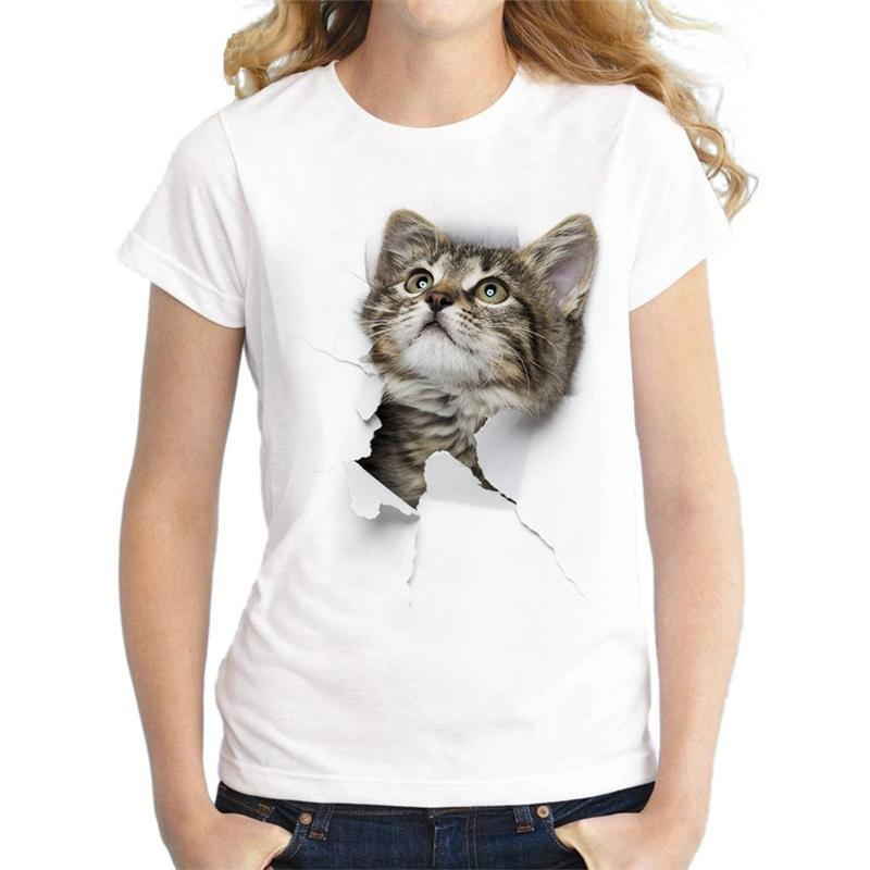 25# 3d Cat Print Women T-shirts Tops Casual T-shirt Summer Short Sleeve O-neck Loose Graphic t Shirts Indie Clothes Tunics