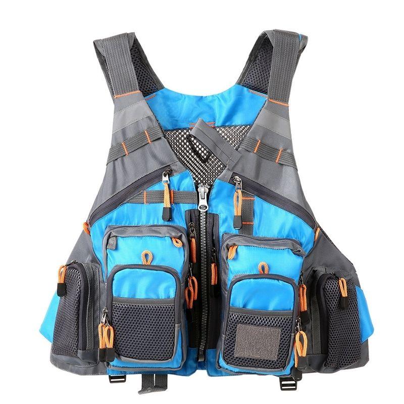 Chaleco de la pesca con mosca del deporte al aire libre Hombres transpirable camisa de natación Chaleco Survivencia Utilidad rápida Seco chaleco Y201123