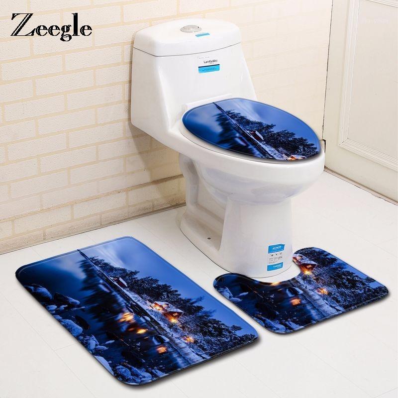 ZOEGLE BATH MAT PURPLE AZUL GALAXY STARRY SELLERO 3 PCS NO SLIGIFICADOS COMPRIMIENTO MATERIALES DE BAÑOS DE TAPA DE AUERO Tapa de inodoro Funda de baño