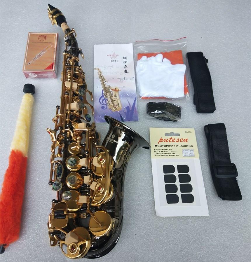 Di alta qualità Marchi YANAGISAWA Sassofono Soprano S-992 Black Gold strumento musicale in ottone Sax professionale Bocchino