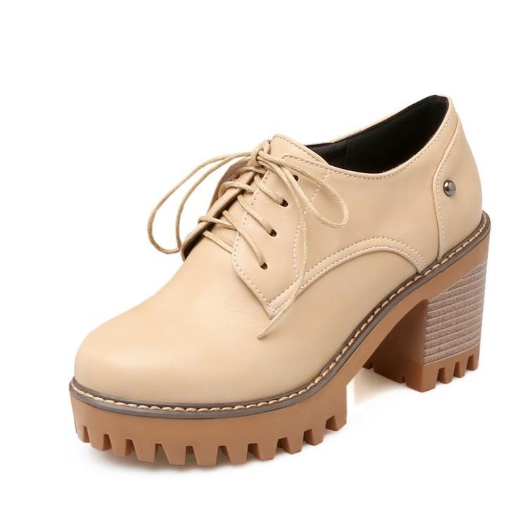 Большой размер Мода зашнуровать случайные одиночные ботинки женщин на высоких каблуках женская обувь женщина насосы
