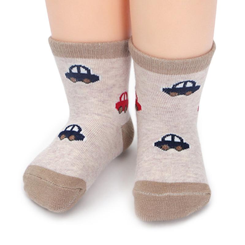 Enfants respirants chaussettes antidérapante coton en coton enfants enfants garçons filles chaussettes de plancher de filles mode rayé jouet voiture imprimée cheville