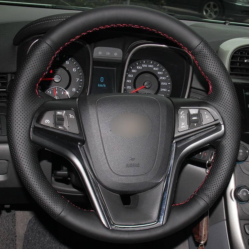 DIY Hand-stitched 100%Original Leather Car Steering Wheel Cover For Chevrolet Malibu 2011-2014 Volt 2011-2015 black 15inch 38cm
