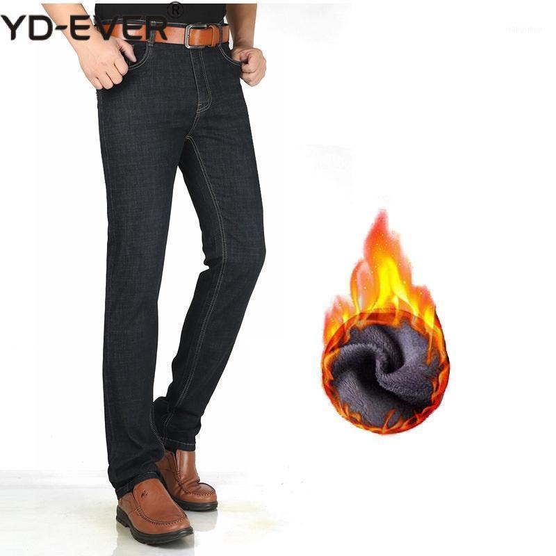 Men Winter Jeans 2019 Straight Thick Warm Extra Long Big Tall Clothing Denim Pants Male Cowboy Trousers Black Men Jeans Fleece1