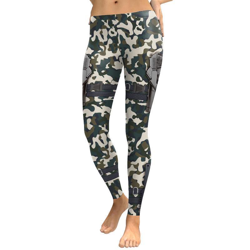 Yoga JIGERJOGER 2020 Army Green Camo Gun sublimazione stampato delle donne Leggings Activewear pro allenamento Leggings collant a compressione