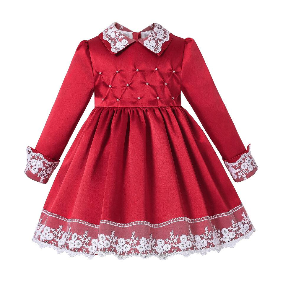 Pettigirl New Red Girls Christmas Dress With Lace And Beading Girls Dresses For Party And Wedding Boutique Kid Clothes G-DMGD307-A575