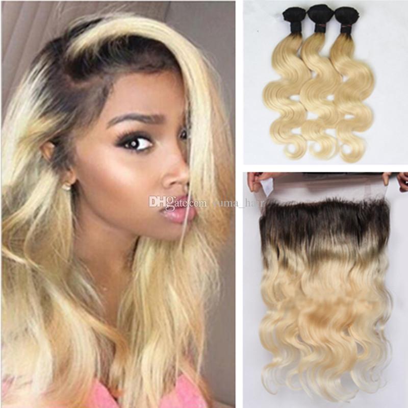 8A brésilien 613 blonde ombre 1b 613 cheveux vierges 3 paquets avec 360 pleine dentelle de corps frontale vague blonde 360 frontale avec des paquets