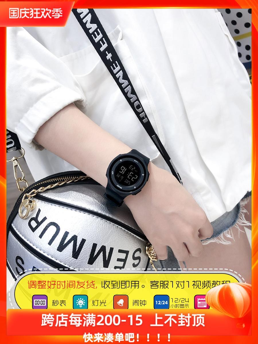 темперамент водонепроницаемый женский студент плавание спорт электронные Ins ветер простых мужской моды часы