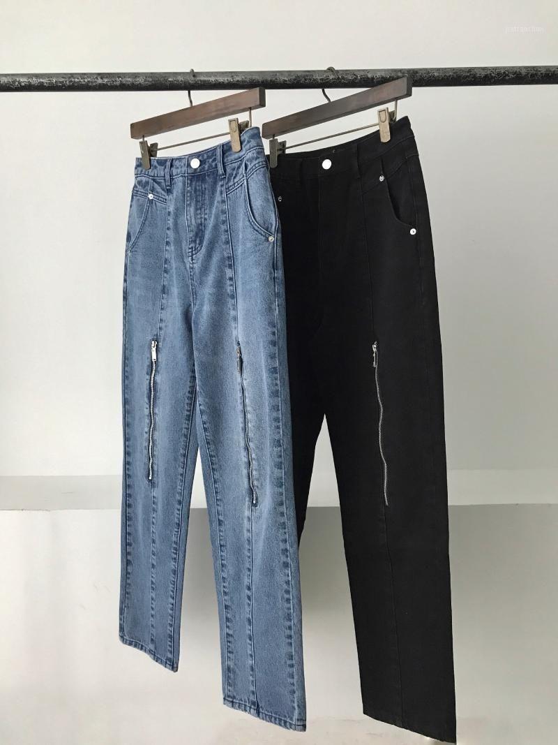Buena calidad 2021 We11Done Zippe Descansó Denim Pantalones de mezclilla Hombres Mujeres Pareja Jeans de gran tamaño Hip-Hop High Street Lápiz Jeans1