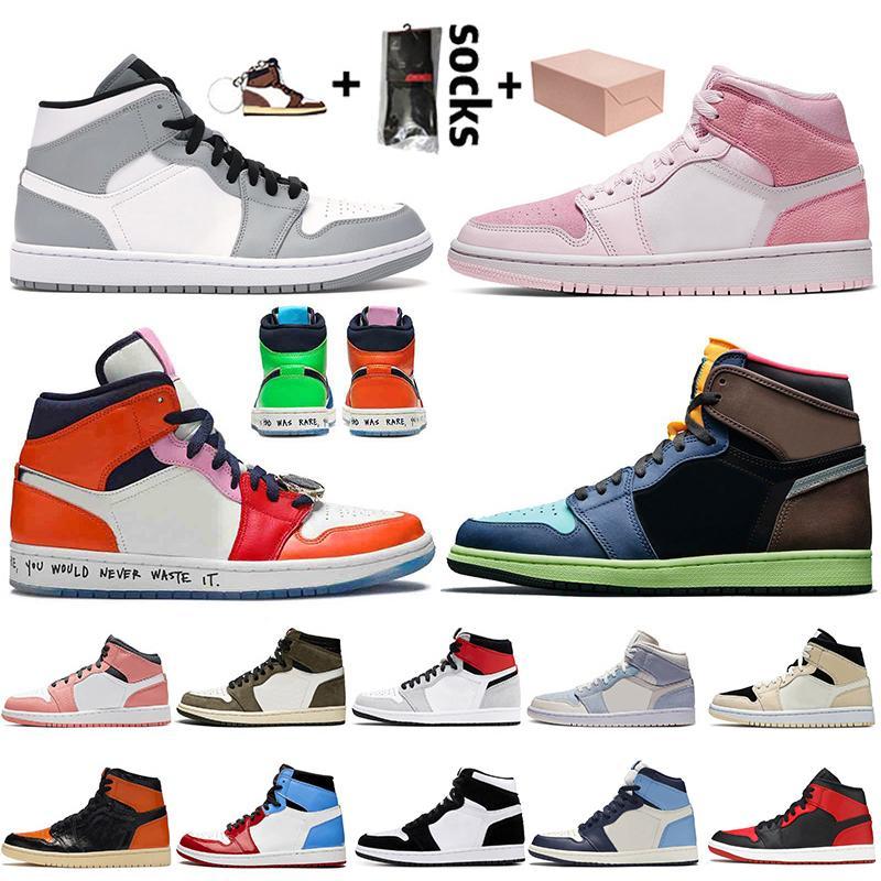 Nike Air Jordan 1 Off White Travis Scott Retro 1 1s Con caja Mediados gris claro Jumpman 1 1s Baloncesto zapatos del Digital-Rosa Miedo para hombre de las zapatillas