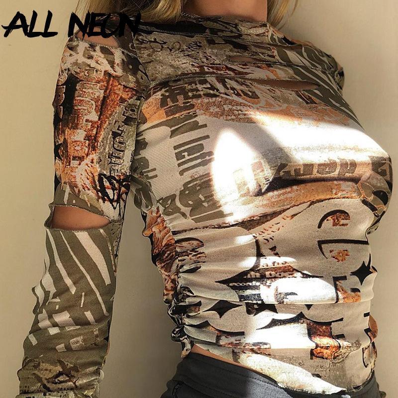 Женская футболка Allneon E-Girl Винтажная печать HOLLOE OUT Длинные рукава Урожайные вершины Harajuku O-Hee Ruched Slim T-рубашки Осенняя улица y2k