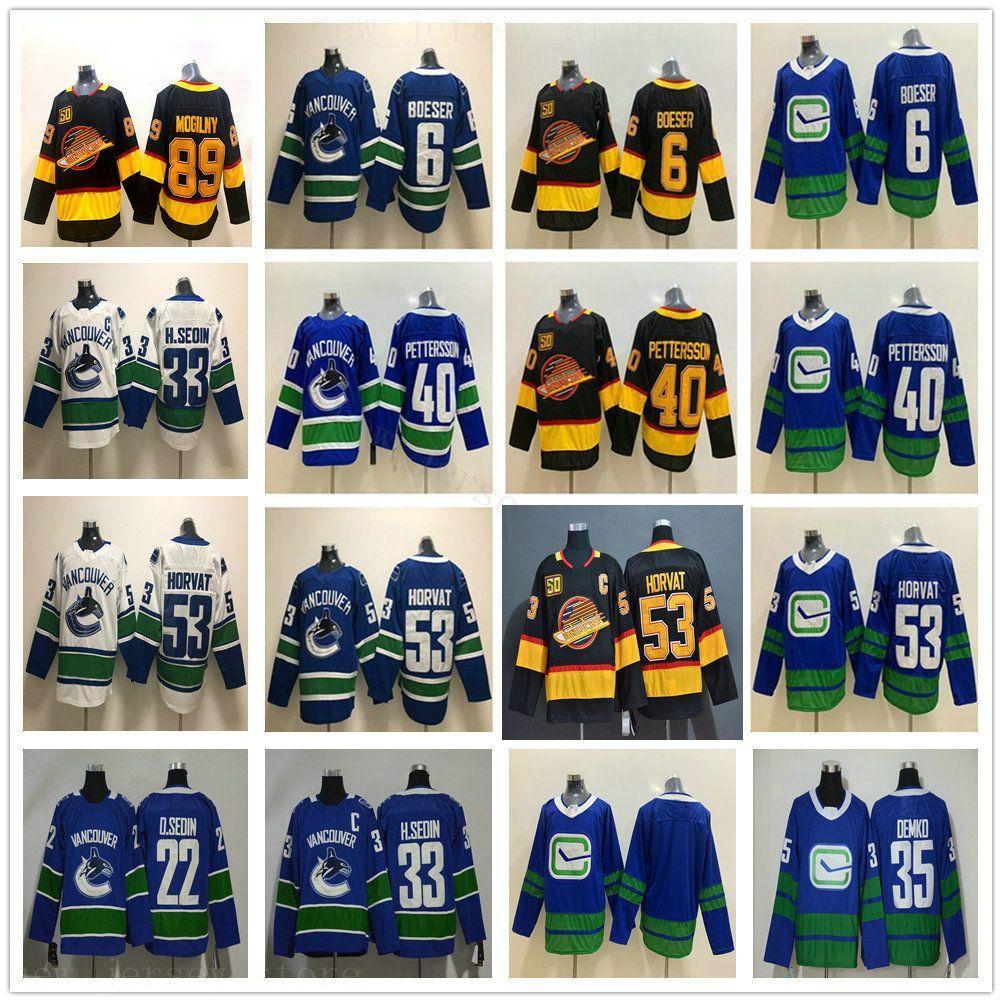 2021 Reverse Retro Vancouver Canucks Hóquei Jerseys 53 Bo Horvat 35 Thatcher Demko 6 Brock Boeser 40 Elias Pettersson Pavel Bure Mogilny