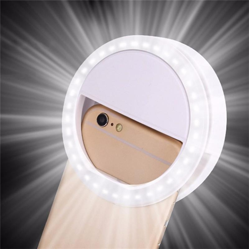 Mobile Phone Light Clip Selfie LED Auto Flash For Cell Phone Smartphone Round Portable Selfie Flashlight Makeup Mirror OWE2119