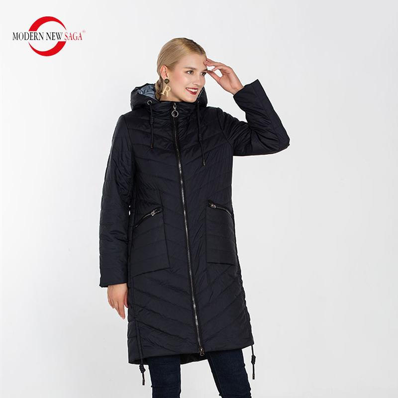 MODERN NEW SAGA Quilted Coat Women Autumn Coat Hooded Thin Cotton Padded Coat Spring Long Jacket Fashion Parka Women Outerwear 201015