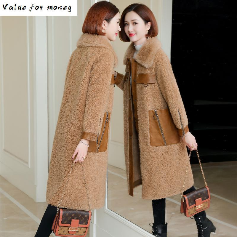 Women's Fur & Faux 1real Coat 100% Wool Jacket Genuine Leather Sheepskin Winter Women Clothes 2021 Sheep Shearling Tops ZT4814