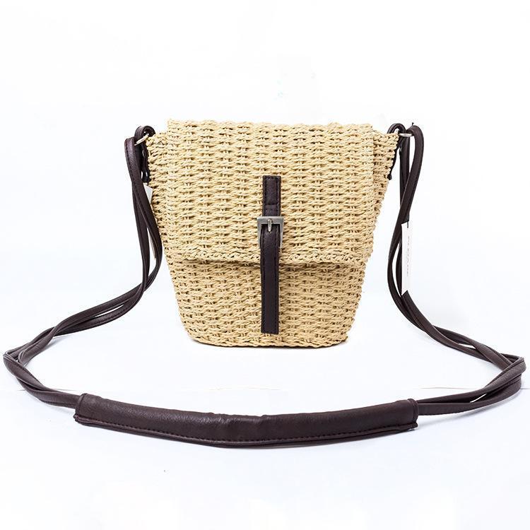 Crossbody piccola borsa da estate borsa paglia morbida donna moda fatta a mano Ixkol