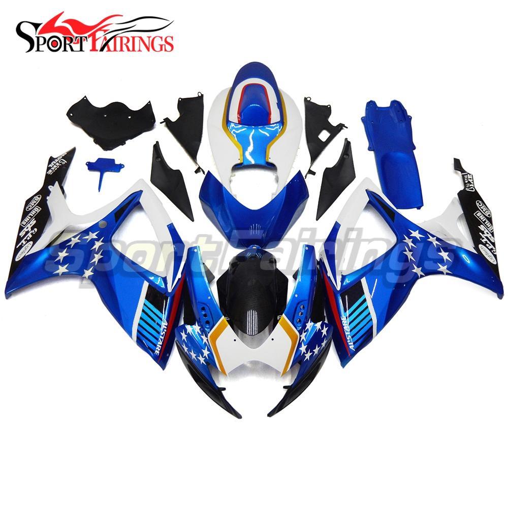 Abs Bodywork para K6 GSX-R 600 06 07 Suzuki GSX-R 750 2006 2007 Kit de carenajes completo Kit de inyección de autociclaje Blanco azul