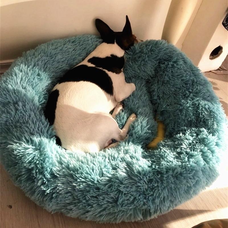 طويل أفخم سوبر لينة الكلب سرير بيت بيت الكلب جولة كيس النوم المتسكع القط البيت الشتاء الدافئ أريكة سلة لصغيرة متوسطة كبيرة الكلب LJ201028
