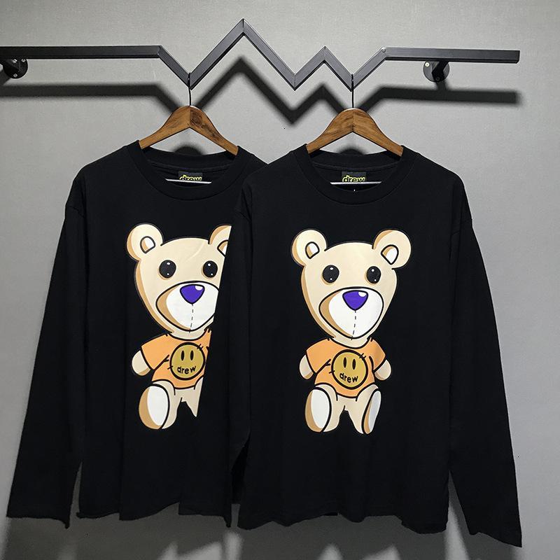 Maison Drew Jia Sitting Bieber 20SS Smiley Face Dessin animé Ours imprimé Wu Yifan Même t-shirt à manches longues EQVSR
