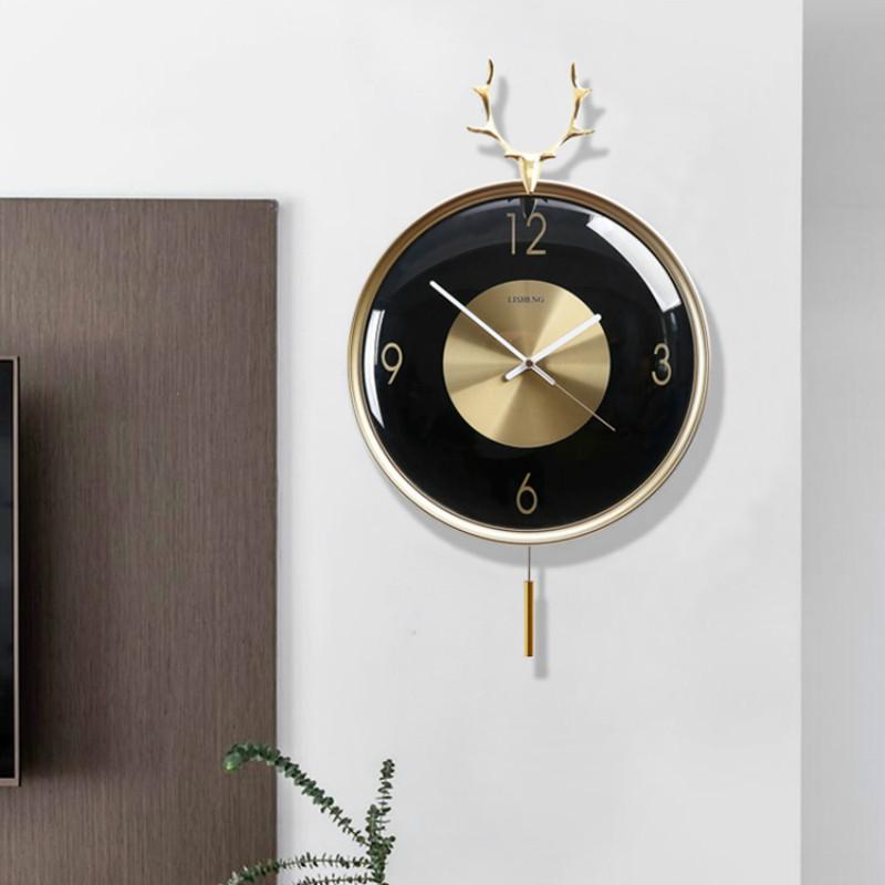 ساعات الحائط بسيطة غرفة المعيشة ساعة البندول الإبداعية خمر كوارتز ساعة فاخرة الصامت الشمال الأوروبي الديكور المنزل W6C