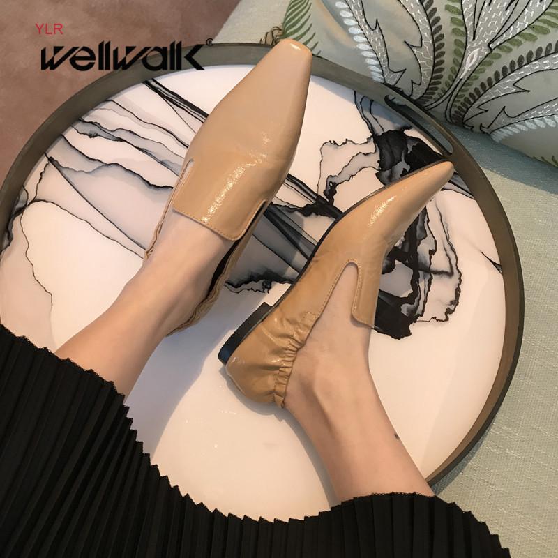 Plain Patent Loafers Frauen flache Schuhe elastische Rücken Female Kleid Mokassins Spitzschuh koreanischen Stil Damen Herbst Ballerinas