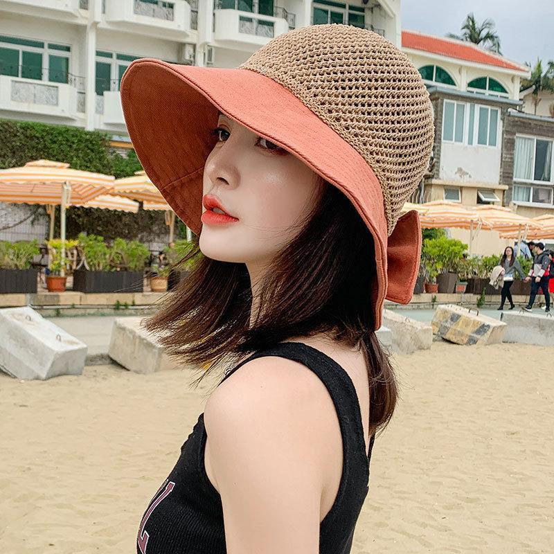 Beanie / Capas de cráneo 2021 Tendencia Moda Moda Sol de verano Sombreros de aire transpirables Mujeres Playa gorra arco nudo al aire libre UV prueba hueco fuera de ancho plegable ala