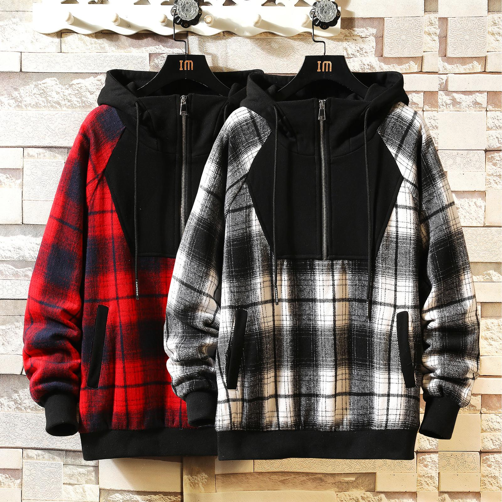 Japan Stil Casual O-Hals 2021 Frühling Herbst Plaid Hoodie Sweatshirt Herren Dicke Hip Hop Punk Streetwear Kleidung W905