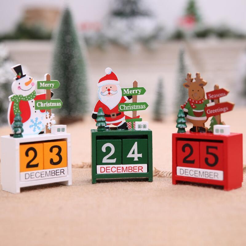 3D Christmas Wood Calendar Cute Santa Milu Deer Snowman Printed Calendar Children Gifts Party Gifts Christmas Decorations GWD2699