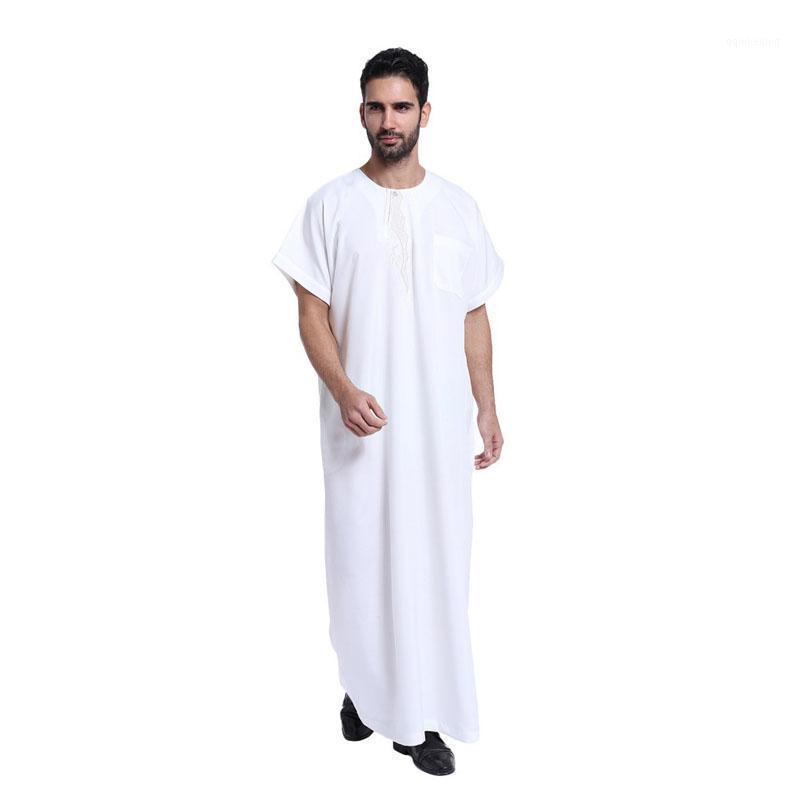 Abbigliamento etnico Musulmano islamico per uomo Arabia Ricamo Abaya Plus Size Dubai Dubai Kaftan Kaftan Manica corta JUBBA BAJU PRIA1