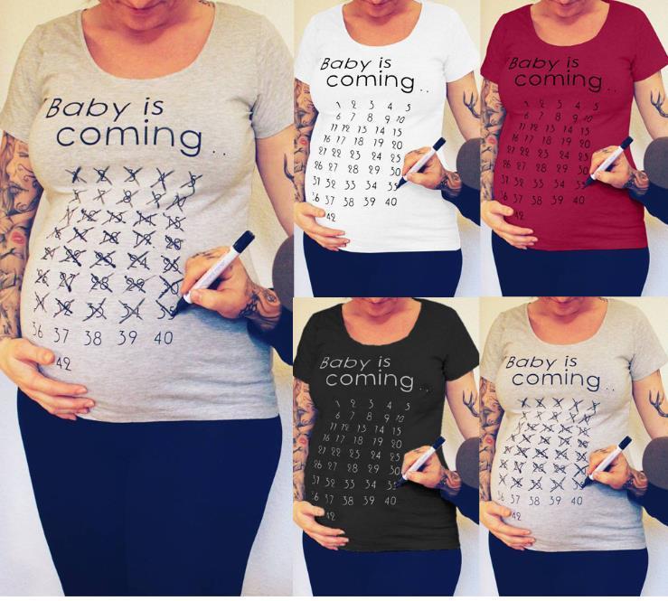Hot 2020 europeo y americano grande de manga corta de manga corta camiseta impresa para mujeres embarazadas