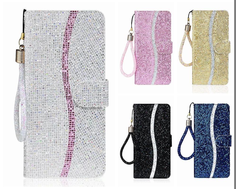 Casos de carteira de couro para iPhone 11 12 Pro Max 8 S21 S20 Plus Galáxia Nota 20 Ultra A71 Bling Sparkle Lantejoula Deluxe Glitter Flip Titular