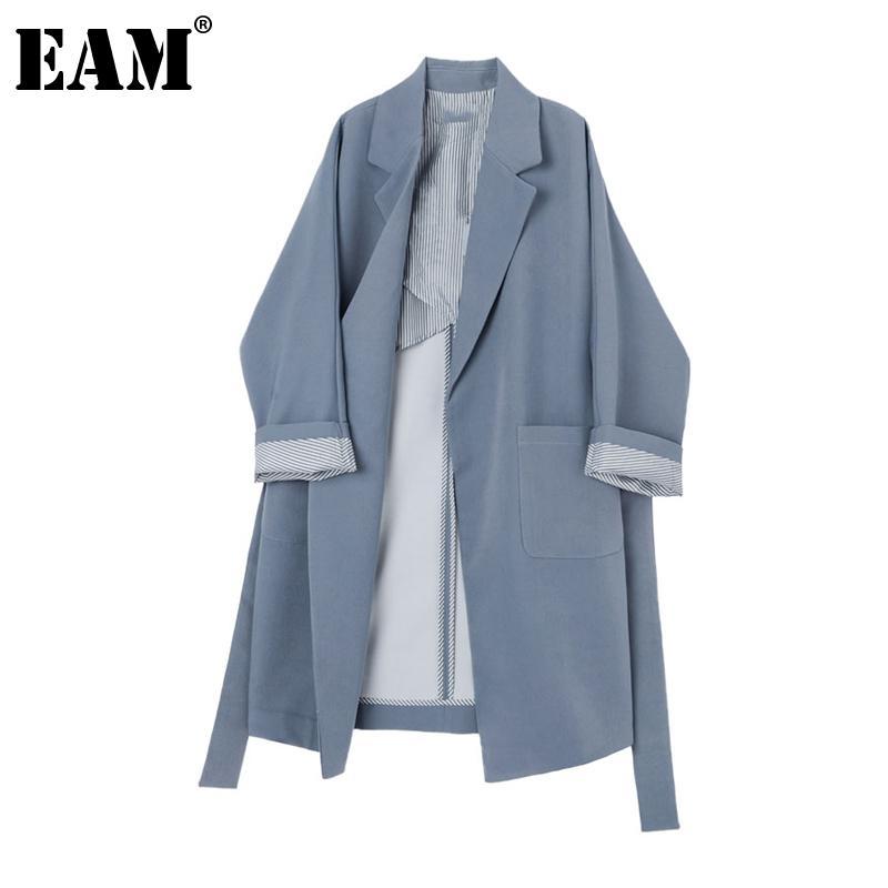[EAM] Women Striped Split Big Size Long Trench New Lapel Long Sleeve Loose Fit Windbreaker Fashion Tide Spring Autumn 1Z788 201015
