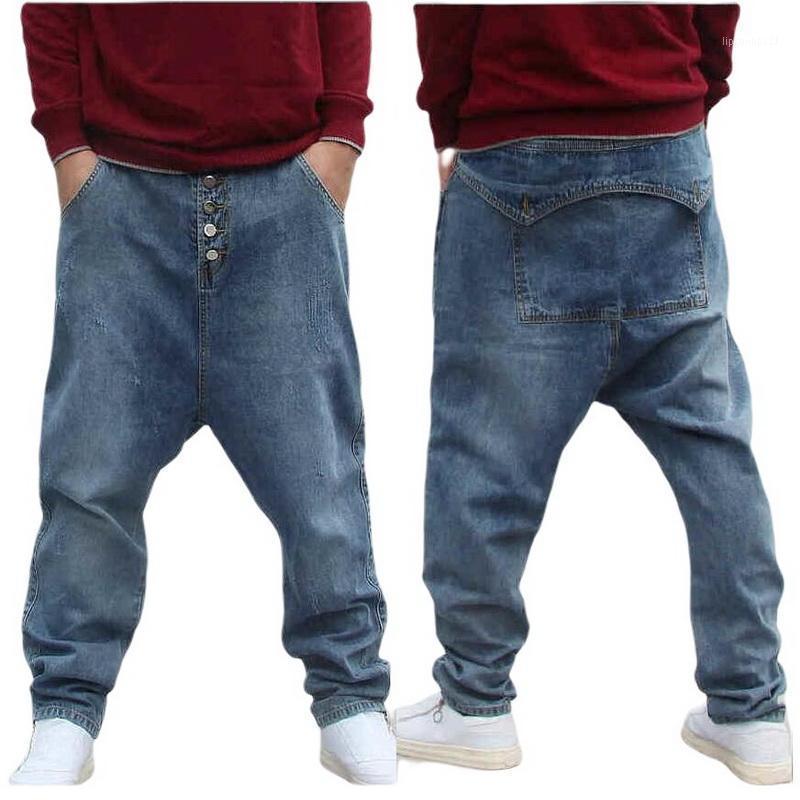 Jeans pour hommes Men Street Bas Bouche Bouche Bouche Bouche Hip-Hop Pantalon Homme Lâche Denim Harem Flying Squirrel1