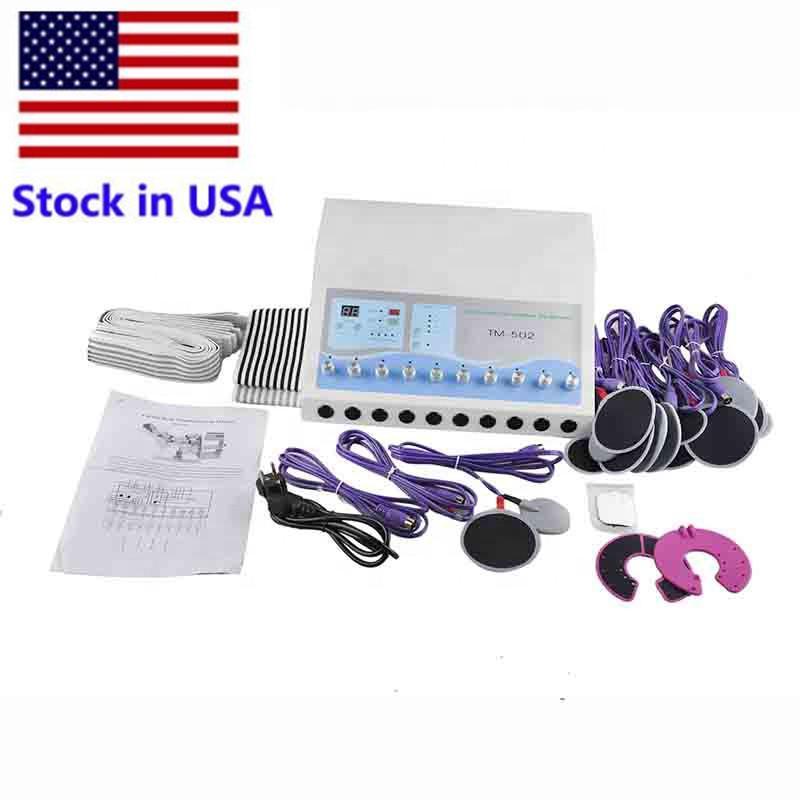 Stock en EE. UU. TM-502 Máquinas de adelgazamiento EMS Estimulador muscular Máquina de electrostimulación Ondas rusas Pérdida de peso Pérdida de peso Estimulador muscular eléctrico
