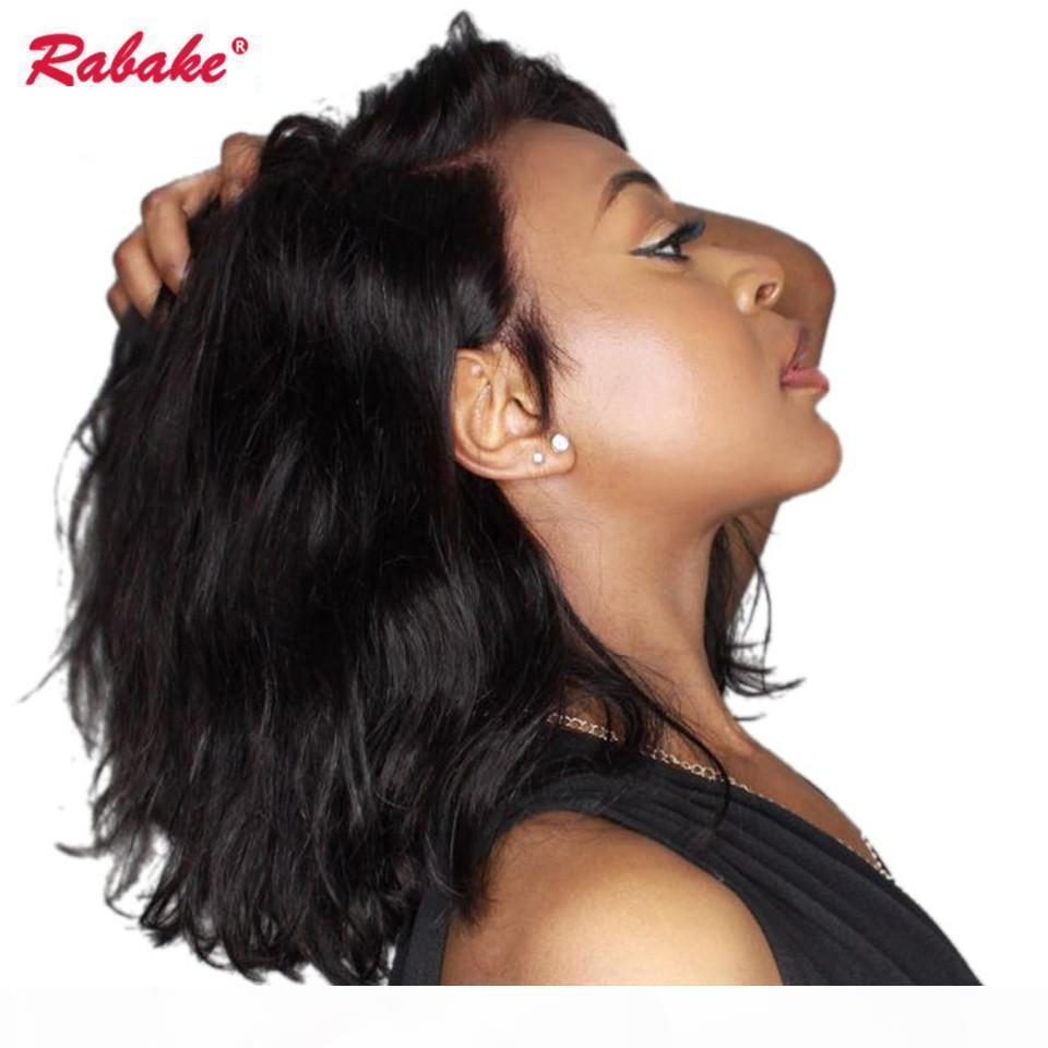 Бразильский Remy девственницы Волнистого фронт шнурок парики Rabake 150% Плотность 4x4 Silk Top Short Bob Human Pixie фронт шнурок парики волосы отбеленной узел