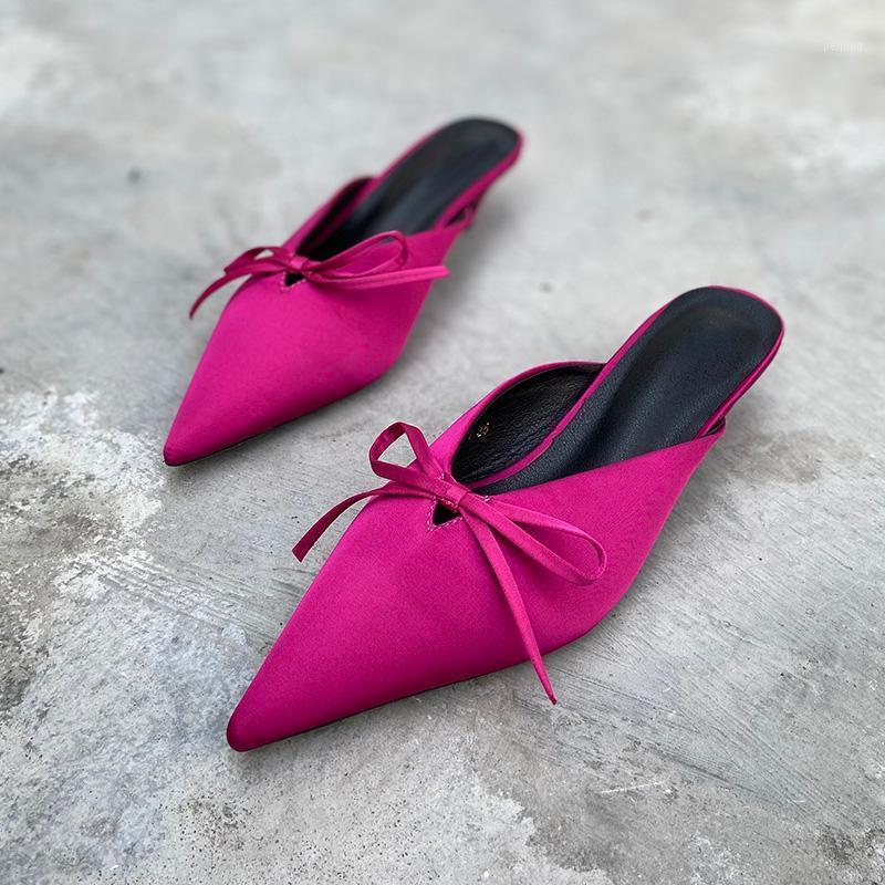 DEAT 2020 Yeni Bahar Yaz Moda Yay Sivri Dış Yarım Orta Topuk Baotou Tembel Muller Terlik Ayakkabı Kadın SE7151
