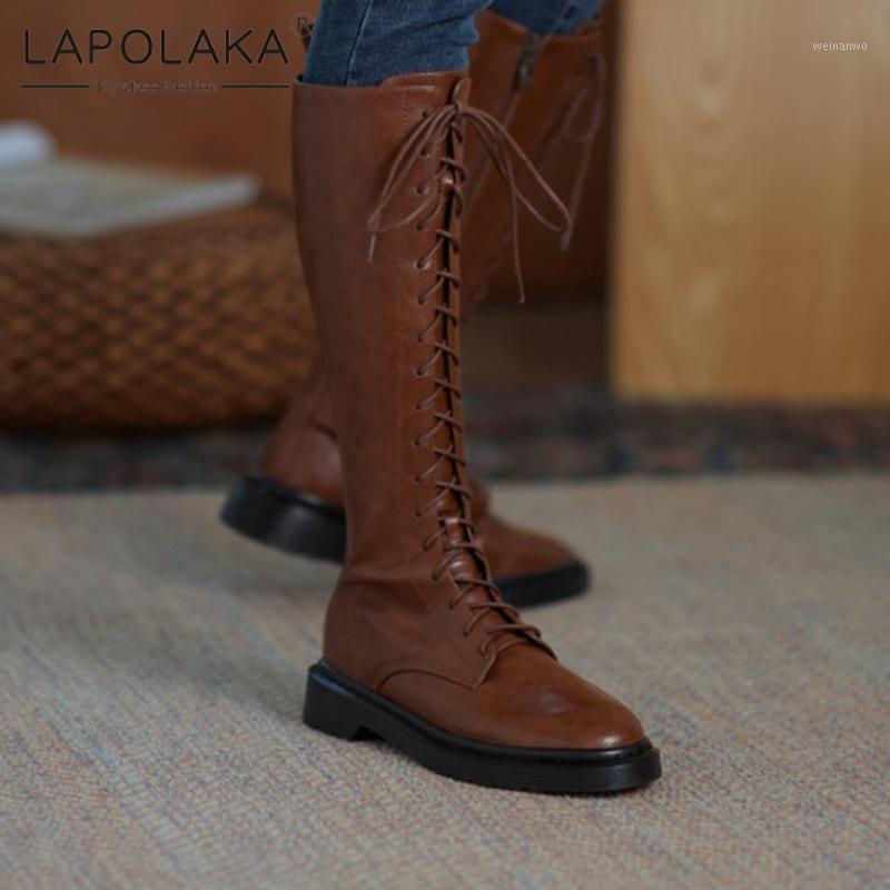 Lapolaka 2020 Neue Mode Britische Stil Trendy Lederstiefel Frau Schuhe Chunky Heels Concis Elegante Schnürsenkel Motorrad Boots1