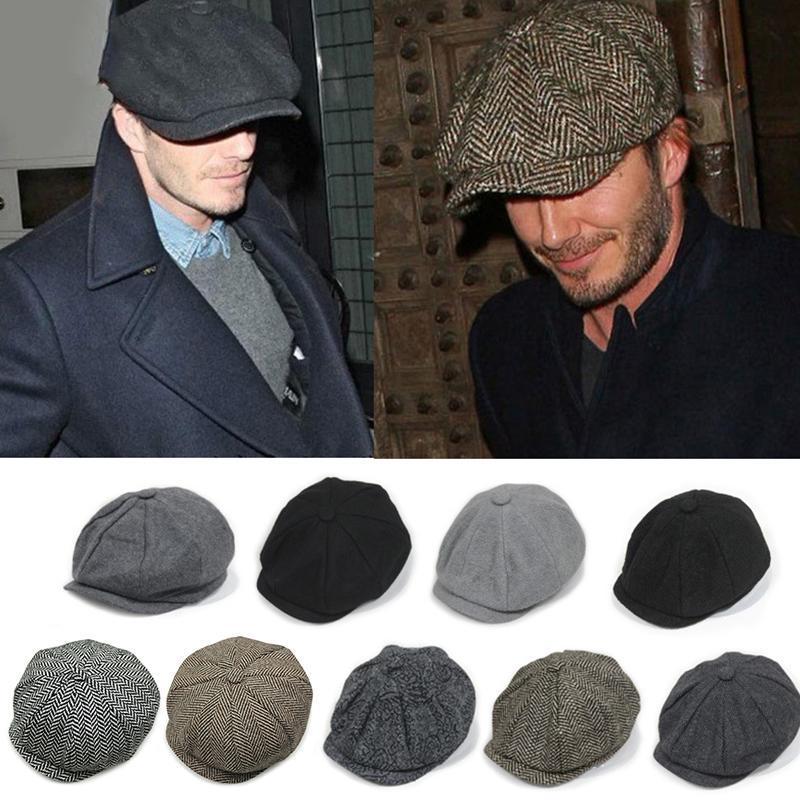 المرأة شاحب الغمامة الرجال القبعات القبعة للخريف وشتاء خمر متعرجة المثمن كاب للرجال والقبعات القبعات الدافئة عارضة غاتسبي شقة