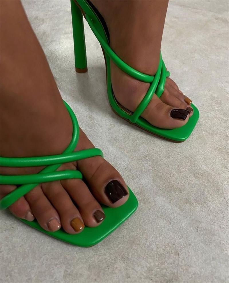 2021 Donne Diapositive 11.5cm Tacchi alti Muli Summer Summer Square Flip Flors Sandali Lady Neon Verde Pantofole Pantofole Pantofole Shoesmultazione