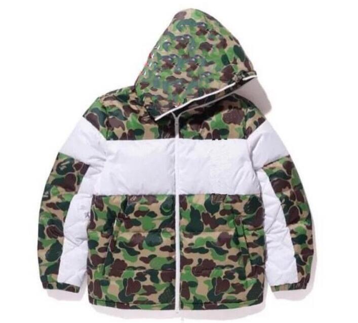 Winter Mens Design-Jacke Mode Camouflage Daunenjacke Shark Mouth-Muster der Männer Parkas Trend Brief Printing Street S-3XL